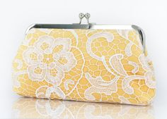 White Lace Bridal Clutch in Canary Yellow 8inch by ANGEEW on Etsy, $60.00