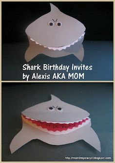 Shark Birthday Invites---@jan issues issues issues Wilke Moser I can help you make these!