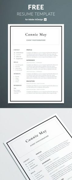 Looking for something both corporate and stylish? This resume template should fit the bill! With an elegant black border and smart serif font, this will ensure your resume in taken seriously…More Indesign Resume Template, Business Resume Template, Indesign Free, Simple Resume Template, Resume Design Template, Free Resume, Resume Tips, Professional Cv Template Free, Simple Resume Examples