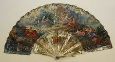 Fan, 18th C., French, Made of paper and mother-of-pearl