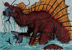 All Godzilla Monsters, Cool Monsters, Monster Design, Monster Art, Creature Concept Art, Creature Design, Fantasy Creatures, Mythical Creatures, Science Fiction