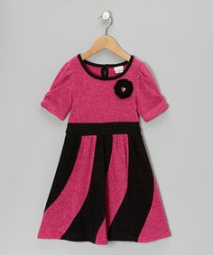 $18. Take a look at this Hot Pink & Black Metallic Dress - Toddler by Youngland on #zulily today!