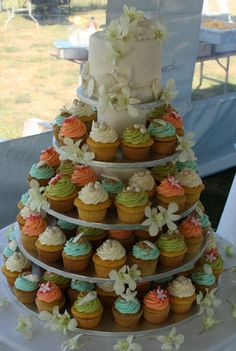 tropical cupcake wedding cake