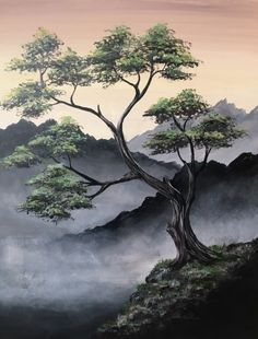 Check out Misty Mountain Top at K-OZ Restaurant and Brewery - Paint Nite Easy Canvas Painting, Moon Painting, Painting & Drawing, Canvas Art, Landscape Art, Landscape Paintings, Tree Art, Asian Art, Japanese Art