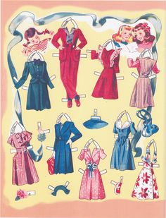 Sweet Sixteen Paper Dolls (6 of 10), 1942 Merrill #1398, restored 2011 Forget-Me-Not