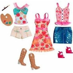 Barbie Fashionistas Day Looks Clothes - Artsy Country Fashion Outfit Barbie Doll Set, Barbie Sets, Doll Clothes Barbie, Beautiful Barbie Dolls, Barbie Outfits, Barbie Stuff, Country Style Outfits, Country Fashion, Barbie Fashionista