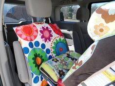 Car SeatBack Protector Carseat Barrier Seat Protection Auto Seat Cover Large Scale Floral IKEA Daisy