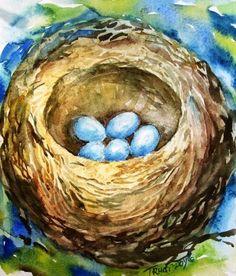"""Little Low Heavens"" watercolour by Trudi Doyle  by:-Trudi art"