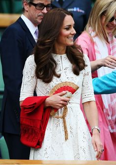 Pin for Later: Stars in the Stands: The 6 Best Looks From Wimbledon Kate Middleton A small woven purse added a pop of color to Kate Middleton's chic outfit.