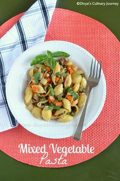 Healthy and Vegan Pasta with mixed Vegetables. Quick & Easy meal.