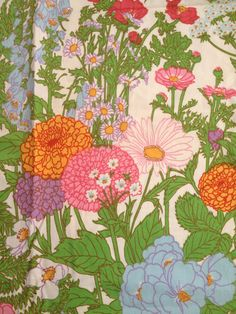 Vintage 60s Fabric Spring Garden Floral Zepel Upholstery Weight Cotton Yardage Home Decor Mid Century Hollywood Regency