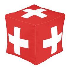 Switzerland flag outdoor pouf - pillows home decor diy cyo pillow design