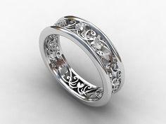 White sapphire filigree wedding ring made from white gold by TorkkeliJewellery, $1190.00