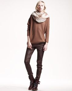 Off-Shoulder Cashmere Top, Ombre Boiled Cashmere Scarf & Leather Leggings by Brunello Cucinelli     One of my fav designers!! Makes me just want the crisp fall season to start. I'd wear this in a heartbeat