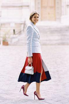 geometric skirt, classy blazer