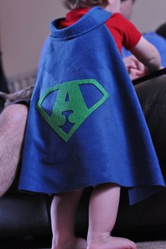 Super Baby cape with the first letter of your wee one's name.  Cute!