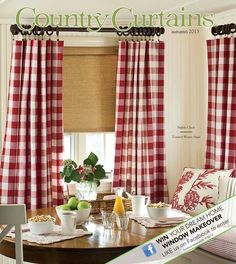 Cottage Check Curtain Valances - other colors beside red | Country ...
