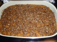 Crunchy Topped Sweet Potato Casserole with Pecans
