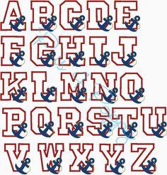 Alphabet Anchor 5x7 instant download applique design
