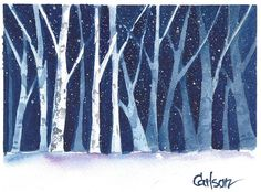 "A watercolor by Ed Carlson.  I used this for the cover of ""Stopping By Woods On A Snowy Evening""...one of my miniature books.  It's great being married to an artist!"
