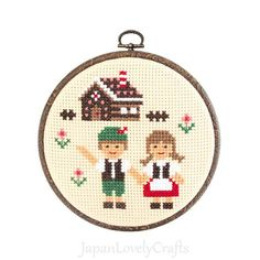 Japanese Cross Stitch Kit Tutorial, Fairy Tale,  Hansel and Gretel, Beginner & Intermediates, Hand Embroidery Kit, Embroidery Wall Art,EK024