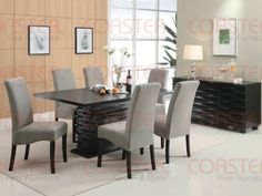 Coaster Home Furnishings  Stanton Modern Contemporary Wave Design Rectangular Dining Table  Black -- undefined #KitchenDiningRoomFurnitures