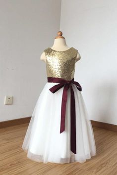 f0bf3cdf4 2018 A Line Simple Light Gold Sequin Ivory Tulle Scoop Flower Girl Dress  with Burgundy Sash