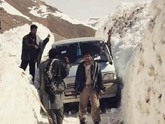 Vehicles stuck in snow between Bamian and Daykundi or provinces in Central Afghanistan — A view of Afghanistan that most foreigners never see.