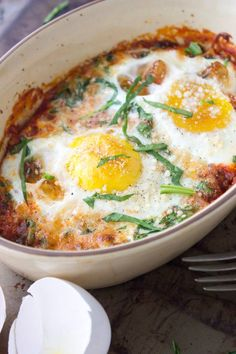 Simple Baked Eggs | simplegreenmoms.com #quick #delicious #breakfast