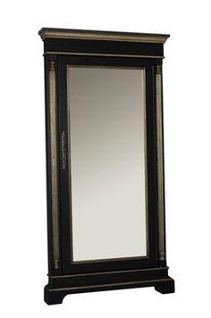 Classic Black Wood Accent Floor Mirror