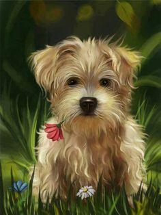 PDF Cross Stitch Pattern, Dog, Puppy, Cross Stitch Dog. EXCIGN003                                                                                                                                                                                 Más