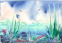 sunny skies one of my encaustic art paintings - Sarah Andrews