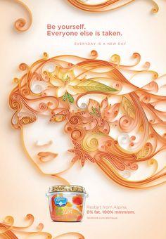 Alpina Yogurt, 3D Quilling American Advertising Campaig by Jitesh Patel, via Behance