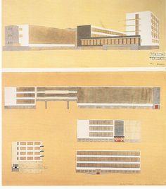 Gropius's drawings of the Bauhaus School in 1926, Dessau
