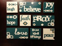 Hand Painted Wood Tiles by KLKDesignsLLC on Etsy