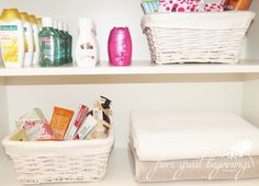 www.fromgreatbeginnings.com | I've created these super cute pamper baskets for our guest bathroom to make all those who stay with us feel like they're at home.