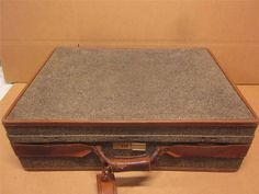 HARTMANN 1940's Leather Tweed Suitcase ~LUGGAGE~COLELCTIBLE~GOOD CONDITION #HARTMANN