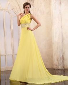 Yellow One Shoulder Maxi Dress,One Shoulder Yellow Chiffon Dress,Yellow Long Prom Dresses Evening Dresses For Women Prom Dresses Under 100, Grad Dresses Long, Prom Dress 2013, Prom Dresses Jovani, Dresses 2013, Yellow Evening Dresses, Chiffon Evening Dresses, Chiffon Dress, Chiffon Beading