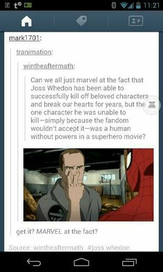 Coulson has the power of the Fandoms!