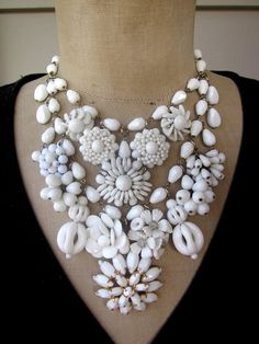Vintage Necklace, Wedding Necklace, Milk Glass Necklace
