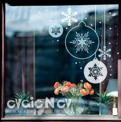 Snowflakes Ornament Stickers Holiday Decor Decals by evgieNev check dollar store for these or other snowflakes...arrange in windows just in the corner