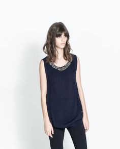 ZARA - NEW THIS WEEK - TOP WITH BEAD TRIM