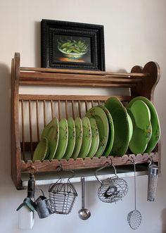 Ideas Farmhouse Kitchen Green Plate Racks For 2019 Woodlands Cottage, Green Plates, Irish Cottage, Plate Racks, Green And Brown, Home Kitchens, Farmhouse, Furniture, Design