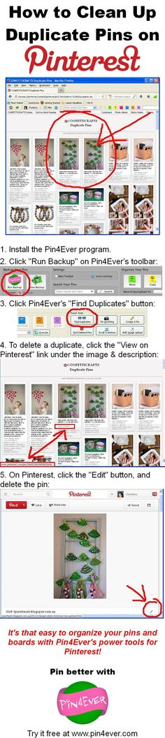 "How to Clean Up Duplicate Pins on Pinterest, using Pin4Ever's ""Find Duplicates"" feature! Organize your boards the fast and easy way with our Pinterest power tools. Try them free for a week at www.pin4ever.com"