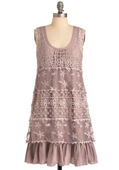 On the Mauve Dress by Ryu - Mid-length, Casual, Boho, Purple, Floral, Crochet, Ruffles, Scallops, Sheath / Shift, Tank top (2 thick straps), Summer, Pastel