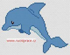 Dolphin, free cross stitch patterns and charts Beaded Cross Stitch, Crochet Cross, Cross Stitch Baby, Cross Stitch Animals, Cross Stitch Kits, Cross Stitch Charts, Cross Stitch Designs, Cross Stitch Patterns, Kids Knitting Patterns