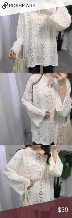 """Barcelona light sweater Material: cotton blended. Super pretty. One size. Bust 47"""", length 25-26"""" Sweaters"""