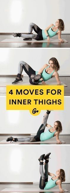 4 workout moves for inner thighs. Target your legs from every angle with these creative moves. #leg #thigh…