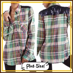 """💥HP 11/23💥GREEN PLAID SHIRT WITH NAVY SEQUINS! SO cute! Green plain button down tops with navy sequin shoulders and back! Polyester/cotton blend. Bust: 48"""" hips 50"""" tla2 Tops Button Down Shirts"""