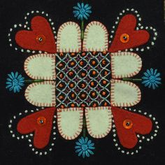 Wool embroidery by the renowned Swedish embroidery artist Carina Olsson also author of the Swedish book Yllebroderi about wool embroidery Scandinavian Embroidery, Swedish Embroidery, Wool Embroidery, Embroidery Stitches, Machine Embroidery, Embroidery Designs, Wool Quilts, Barn Quilts, Felted Wool Crafts